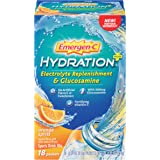 Emergen-C Hydration+ Sports Drink Mix with Vitamin C., Electrolyte Replenishment, 0.34 Ounce Packets (Orange Spritz Flavor, 18 Count)
