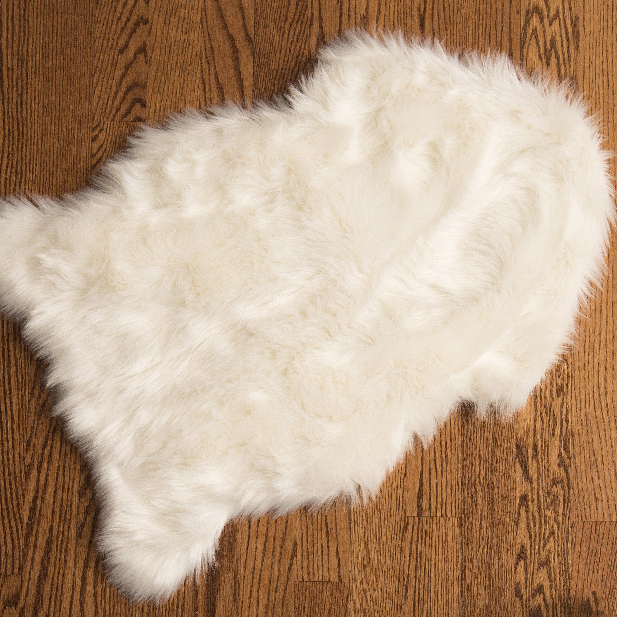Genteele Luxurious Faux Fur Sheepskin Rug - Super Soft Plush White Faux Australian Fur Elegant Area Rug, 2 Feet X 3 Feet, White