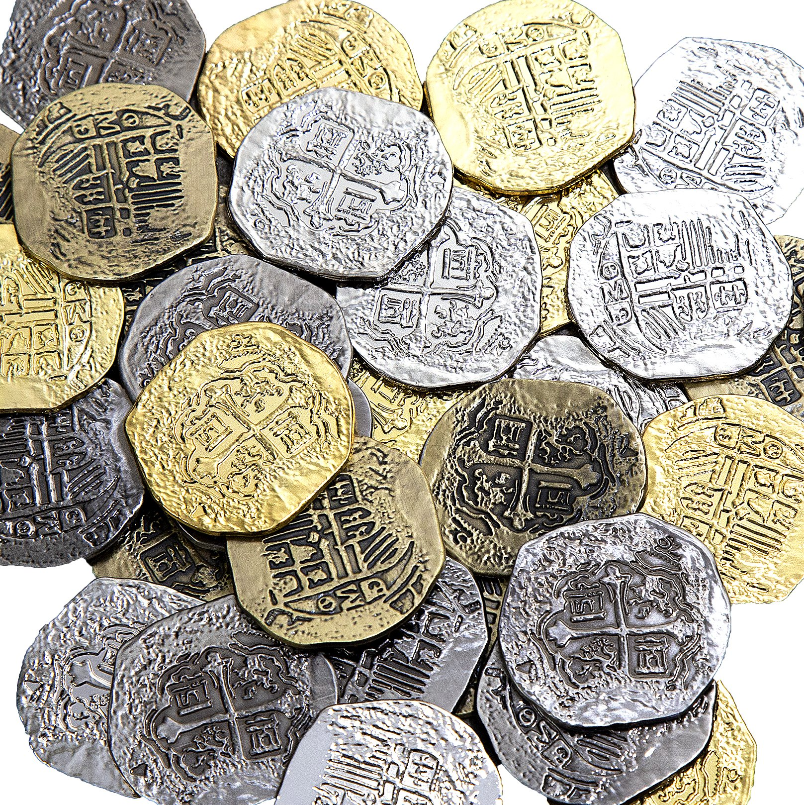 Extra Large Metal Pirate Treasure Coins - 100 Gold and Silver Doubloon Replicas - Toy Pirate Coins by Beverly Oaks (Image #1)