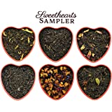 Sweetheart Loose Leaf Tea Sampler in Red Heart Tins w/ 6 Varieties of Tea Including Spicy Lover's Chai, Vanilla Black Tea, Passion Peach Tea, Rose & More, Tea Gift Set