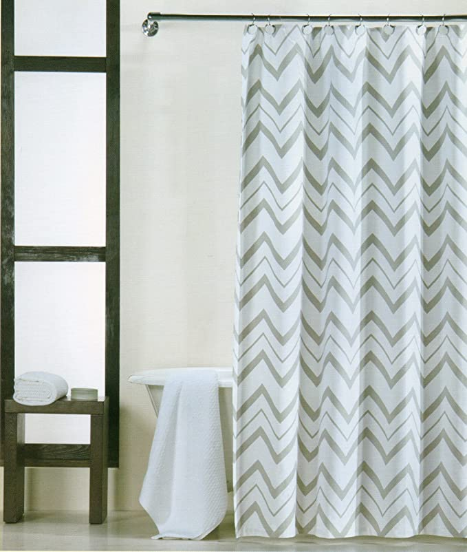 100 por ciento de algodón dominio cortina Chevron Gris y Blanco 182,88 cm cortina zigzag: Amazon.es: Hogar