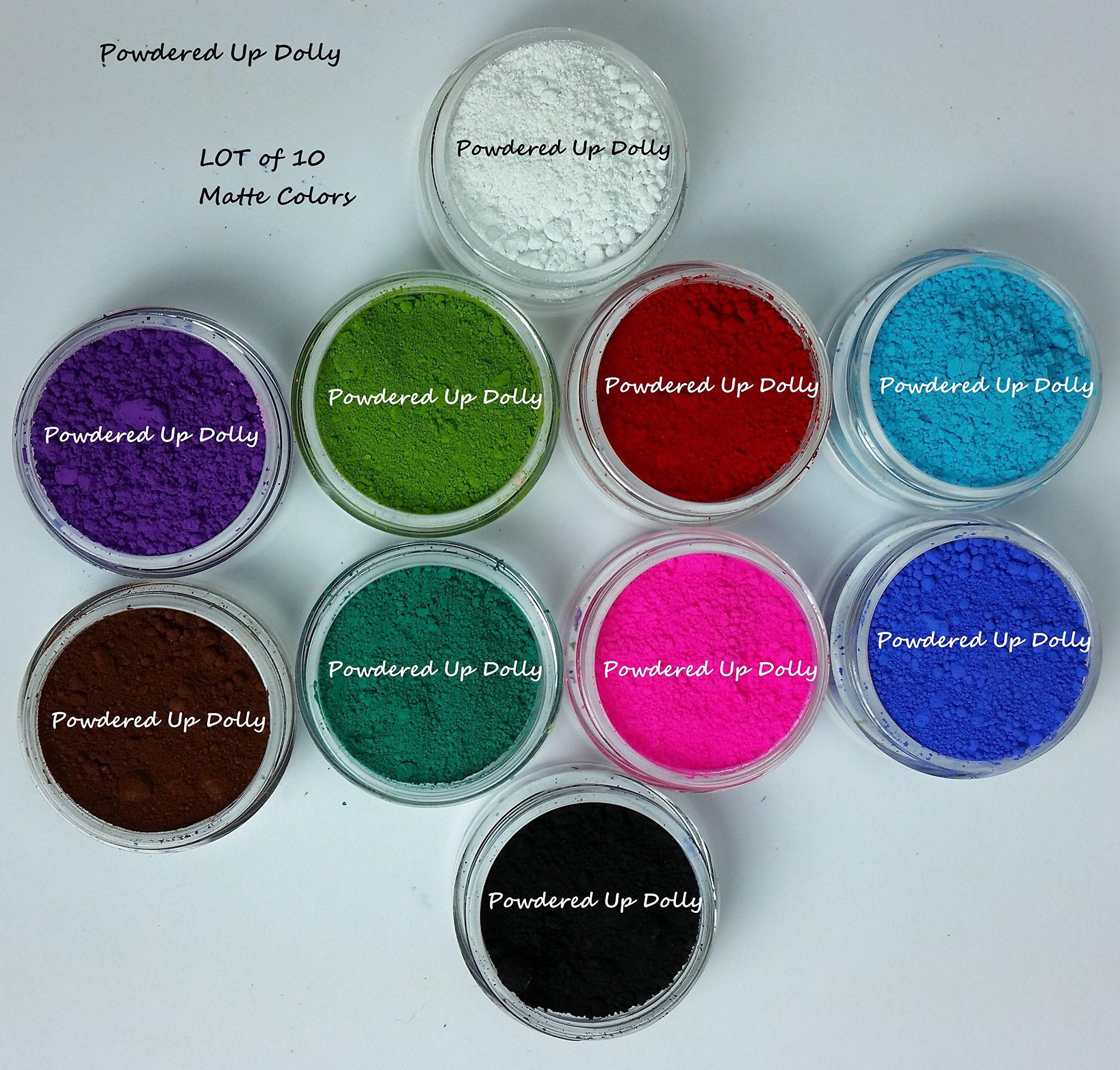 100g Grams Lot of 10 JARS 10g EACH By Volume Cp Mp Hp DIY Natural Soap Pigment Powders WHITE Purple GREEN Red BLUE Black Teal Ultramarine Neon Bath Bomb Cosmetic Jar 100g in JARS