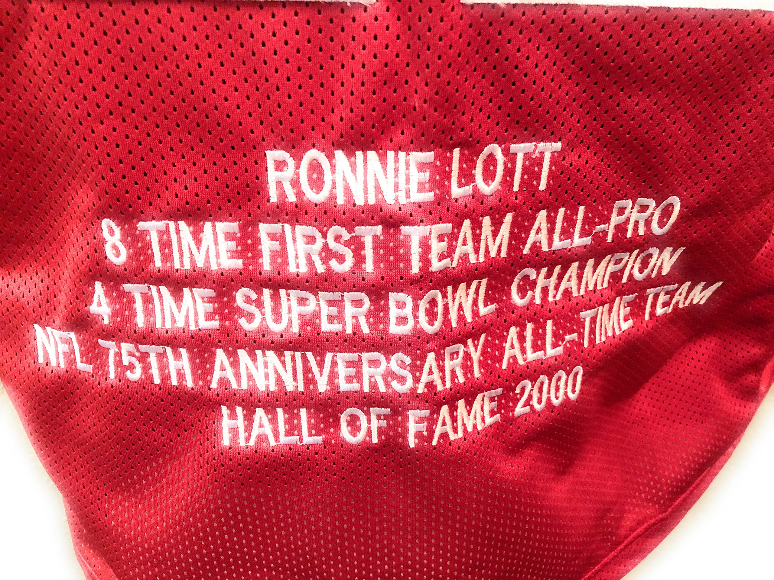 Ronnie Lott San Francisco 49ers Signed Autograph Embroidered Stat Custom Jersey JSA Witnessed Certified