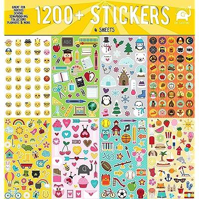 Josephine on Caffeine Year Round Sticker Assortment Set (1200+ Count) Collection for Children, Teacher, Parent, Grandparent, Kids, Craft, School, Planners & Scrapbooking: Toys & Games