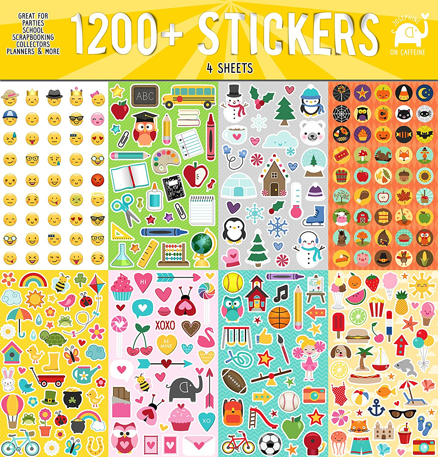Year Round Sticker Assortment Set (1200+ Count) Collection for Children Teacher Parent Grandparent Kids Crafts Planners Scrapbooking by Josephine on Caffeine