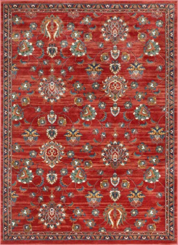 Well Woven Allie Red Traditional Floral Area Rug 5×7 5'3″ x 7'3″