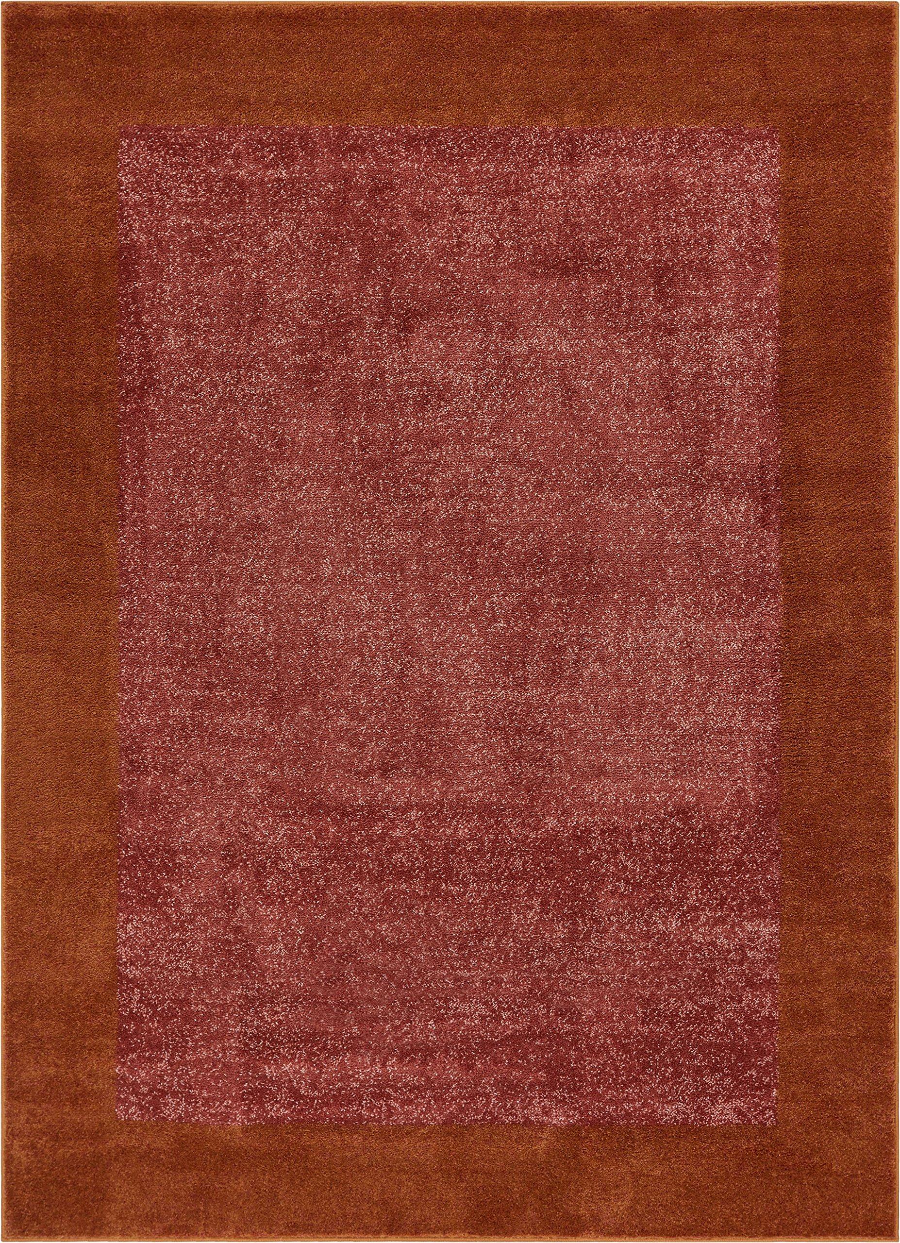 Frontier Border Terracotta Red Geometric Area Rug 8x11 (7'10'' x 10'6'') Plain Field Pattern Soft Plush Carpet