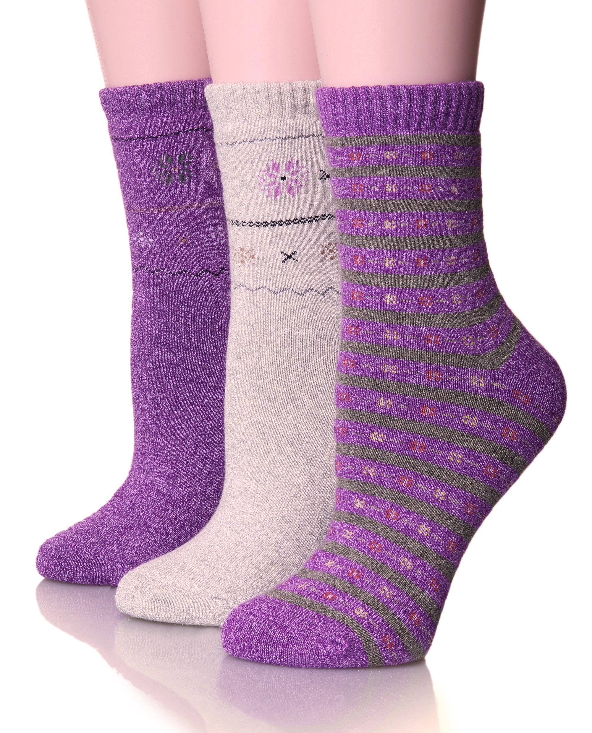 EBMORE Womens Thick Cotton Socks Soft Warm Crew Winter Cold Weather Socks 3 Pack (Purple)