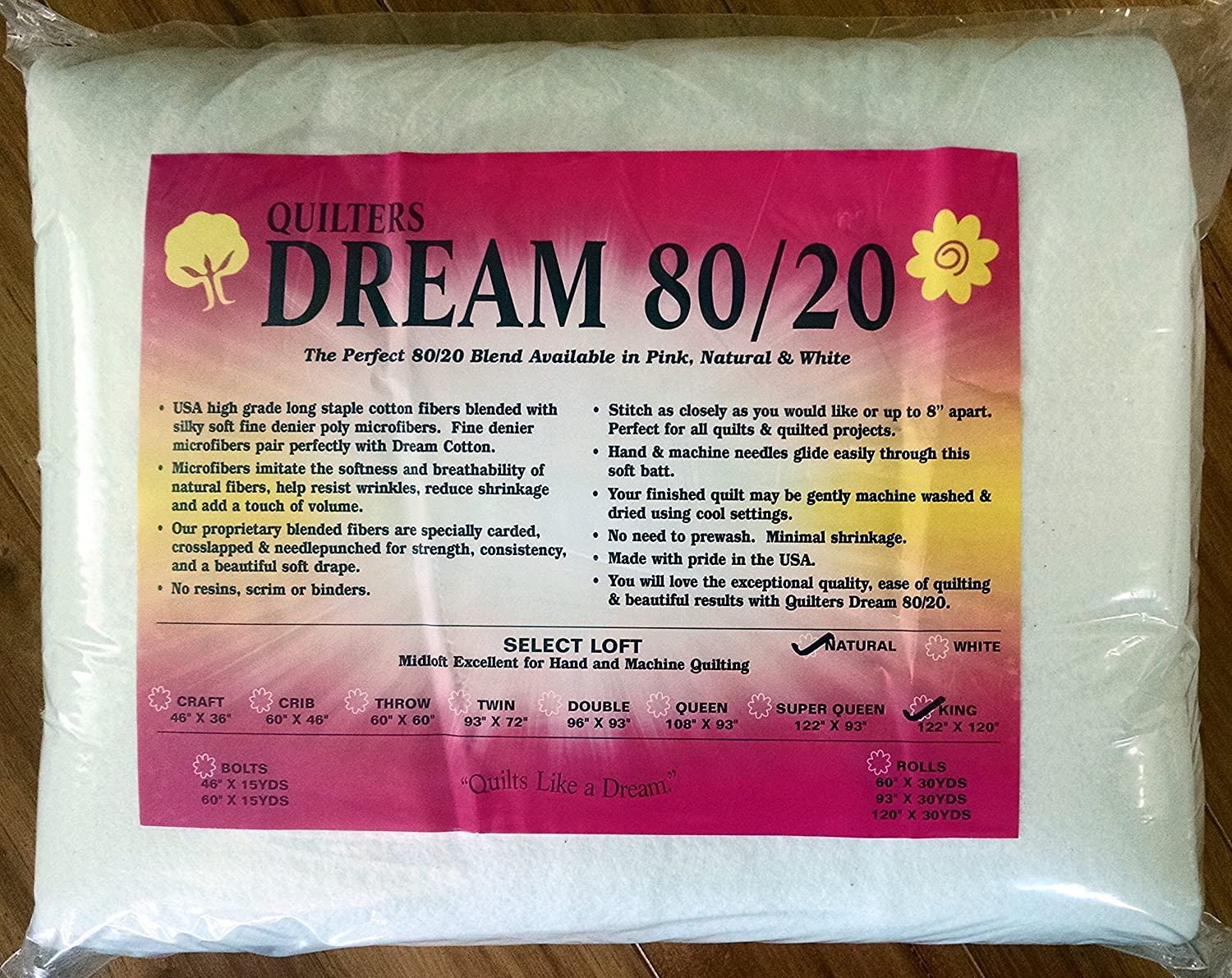 Quilter's Dream 80/20, Natural, Select Loft Batting - King Size 122X120 Quilter' s Dream 80/20 ENK
