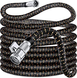 GUIDEGARDEN 100FT Garden Hose, Expandable Water Hose Durable Lightweight, Double Latex Core, 3/4 Solid Brass Fittings, Extra Strength Fabric