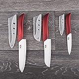 Ceramic Knife Set - 6 Pcs Chef Kitchen Knives Santoku And Paring - Elegant Box By Vos