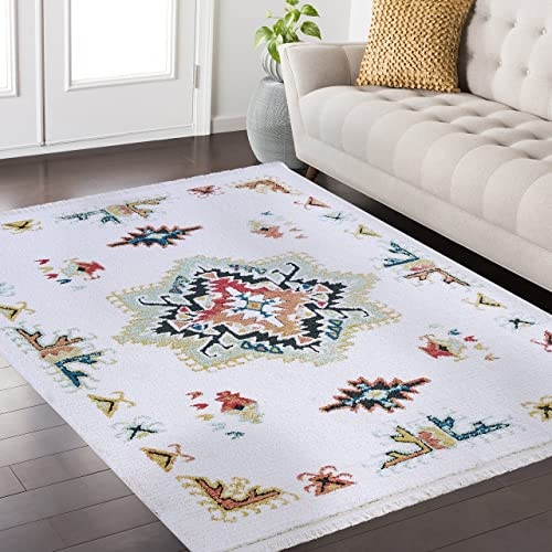 Mod-Arte Fez Collection Area Rug Moroccan Inspired Style White Multi 5 2 x 7 2