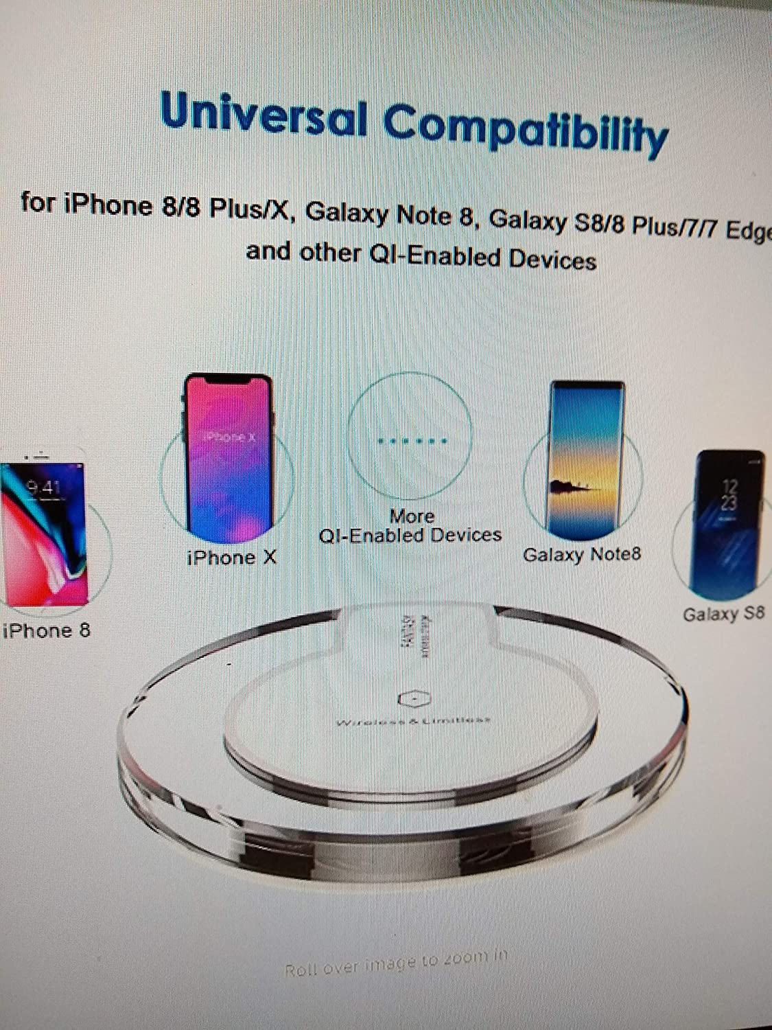 Moto Droid Turbo 2//Turbo,Google Nexus 6//5//4 and More 2PCS Universal Wireless Charger Wirelessly Charging Pad for iphone X//8//8 Plus//Samsung Galaxy S8//S7//S6,Moto Maxx YLF