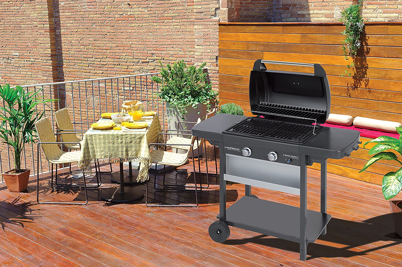Campingaz 2 Series Classic L Barbacoa Gas, 2 quemadores, 7.5 kW, parrilla de acero, 2 mesas laterales