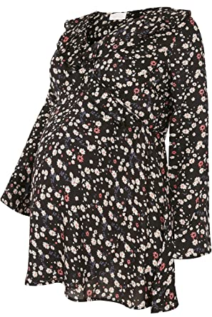 cf910c3ae398a Women s Plus Size Bump It Up Maternity Black   Floral Frill Wrap Top with  Tie Ba  Amazon.co.uk  Clothing