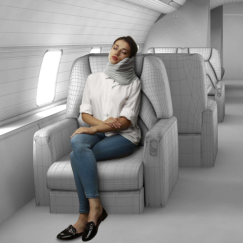 Earplugs Flight Pillow Wrap for Sleeping Travel Accessories 3D Sleep Mask Travel Pillow Set : 100/% Cotton Travel Neck Pillow with Memory Foam Support Airplane Pillows Travel Essentials Grey