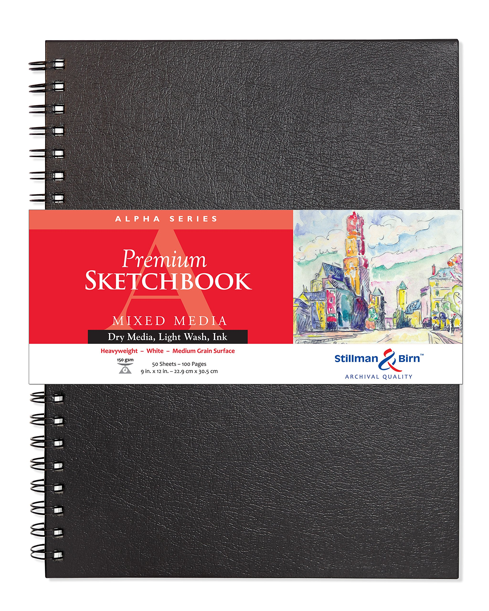 Stillman & Birn Alpha Wirebound Sketchbook, Heavyweight 100lb, Natural White, 50 Sheets, 9X12