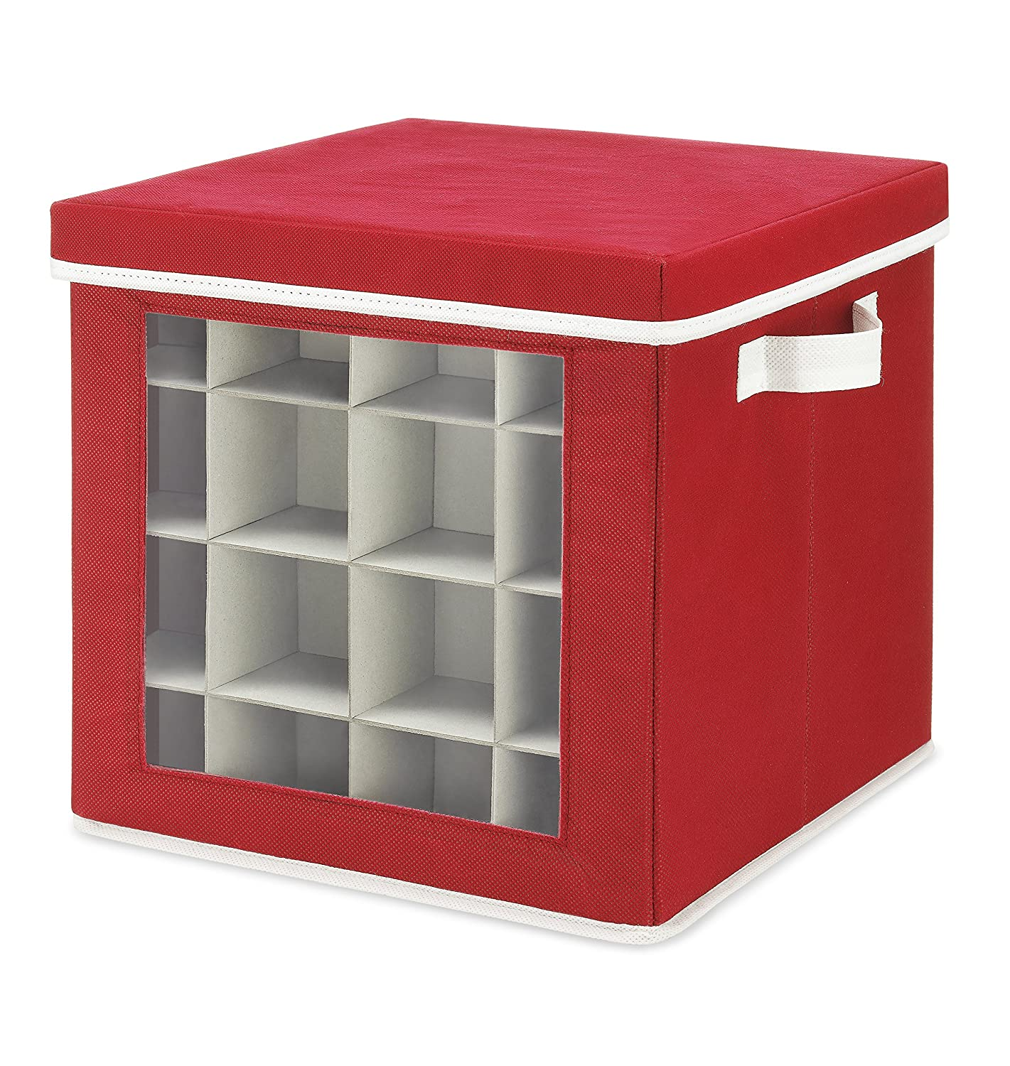 Whitmor Holiday Ornaments Storage Cube with 64 Individual Compartments - Made with Non-Woven Polypropylene Fabric - Transparent Cover for Easy Viewing - Removable Top and Convenient Handle WH-6725-5340