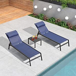 PURPLE LEAF 3 Pieces Outdoor Chaise Lounge Set Adjustable Textilene Patio Lounge Chair Set with Side Table All Weather Outdoor Reclining Chair with Pillow for Garden Pool Balcony, Navy Blue