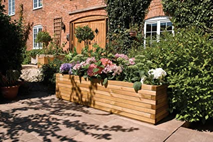 Genial Bosmere Rowlinson A059 Patio Planter, Natural Timber Finish, 15u0026quot;  Height X 15u0026quot;