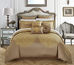 Chic Home 9 Piece Orchard Place Faux Silk Luxury Large Medalion Jacquard with Embroidery Details and Trims Queen Comforter Set Gold