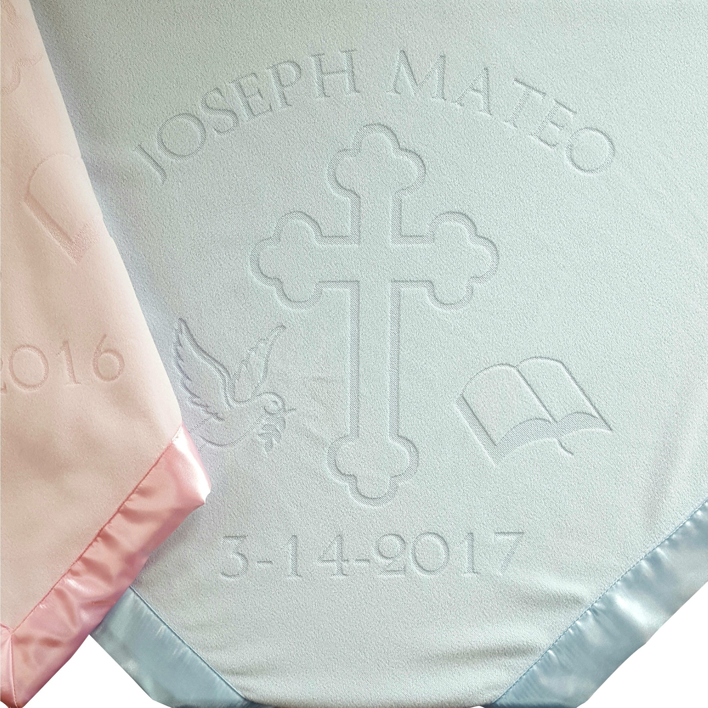 Baptism or Christening Baby Blanket Gift, Personalized Girls Or Boys Gifts With Name and Date, Cross and Bible