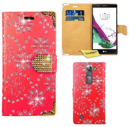 LG Magna / LG G4c Funda, FoneExpert® Diamante Bling Wallet Flip Billetera Carcasa Cover Case Funda de Cuero Para LG Magna / LG G4c (Rojo)