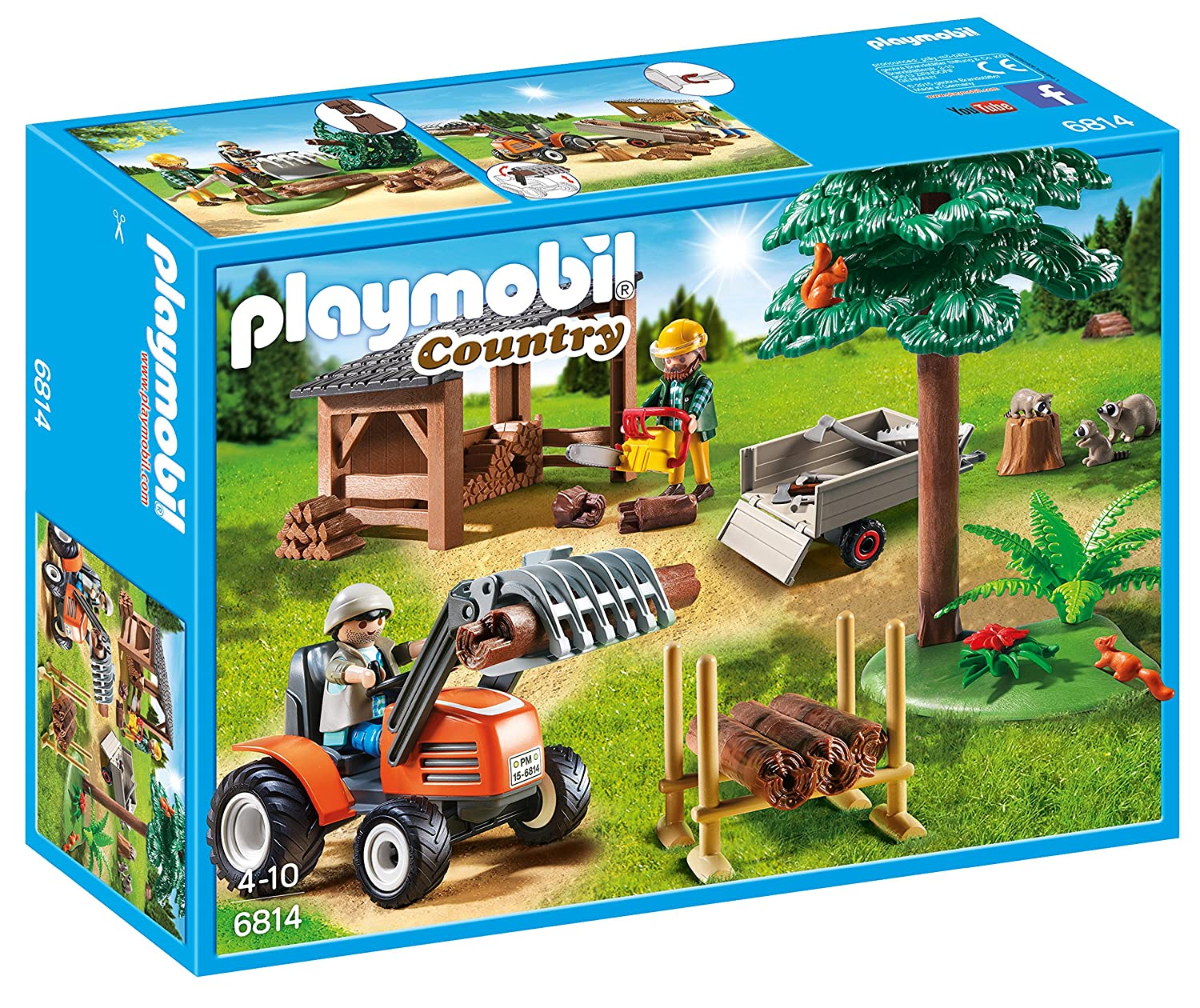 Playmobil Vida en el Bosque- Lumber Yard with Tractor Playmobil Playset, (6814)