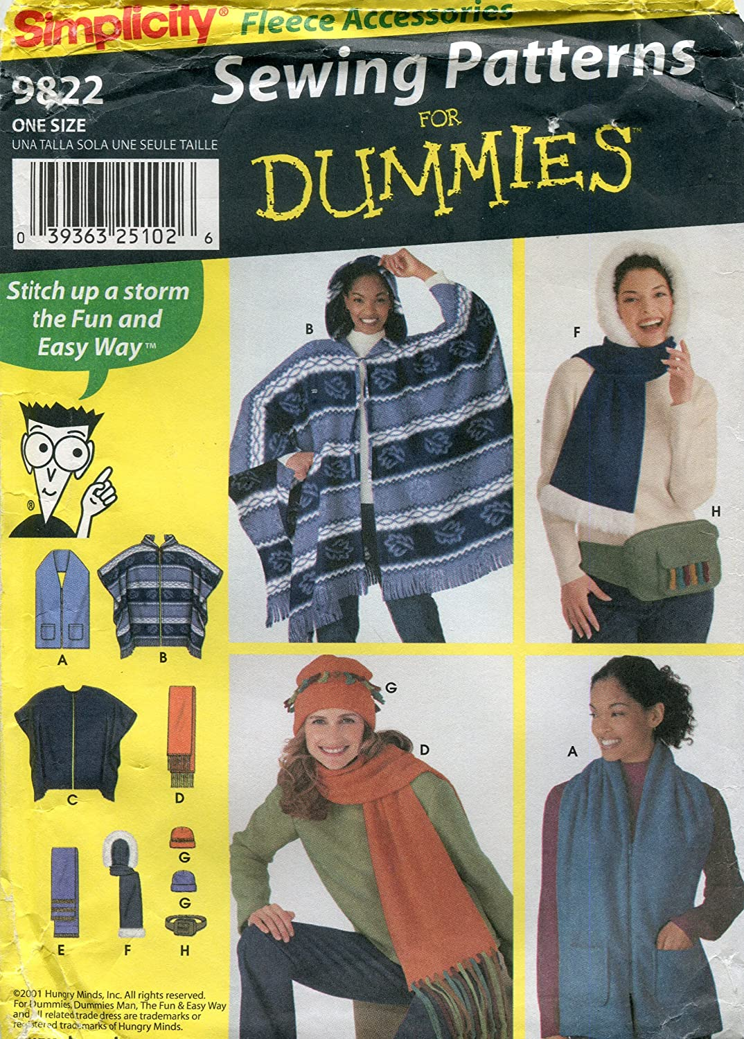 Simplicity Pattern for Dummies 9822 / 0600 Fleece Accessories
