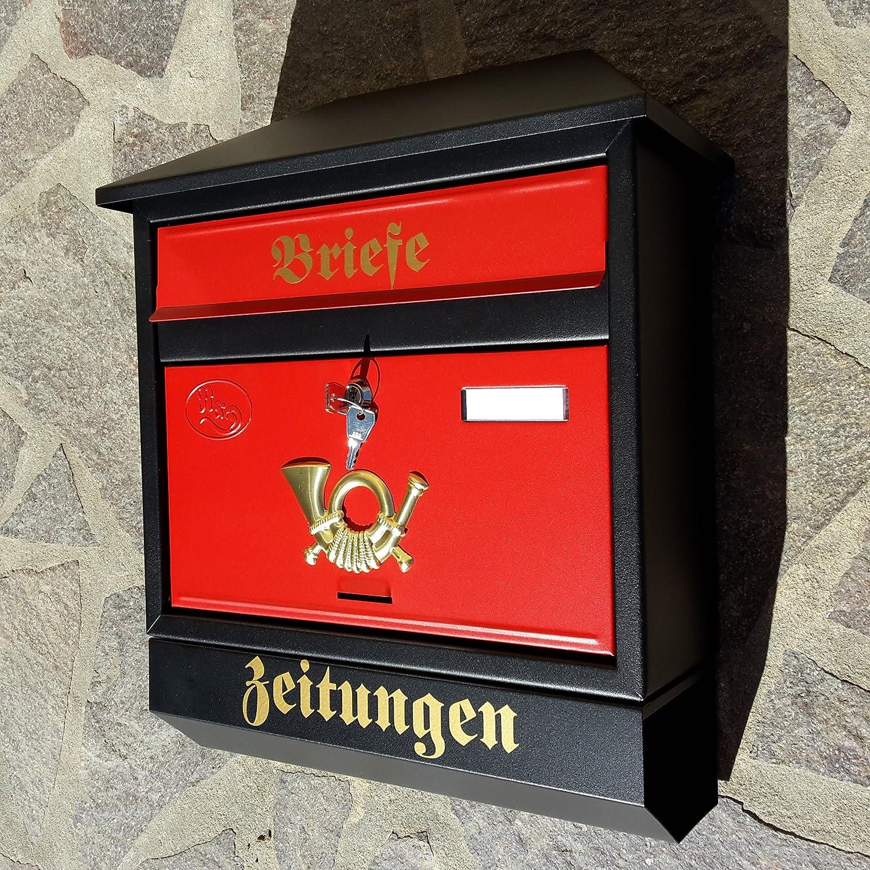 Naturholz-Schreinermeister Gro/ßer Briefkasten//Postkasten XXL Schwarz Matt//Rot mit Zeitungsrolle Zeitungsfach Schr/ägdach Trapezdach