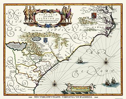 Florida Southeast Coast Map.Amazon Com Old State Map Virginia To Florida Southeast Coast
