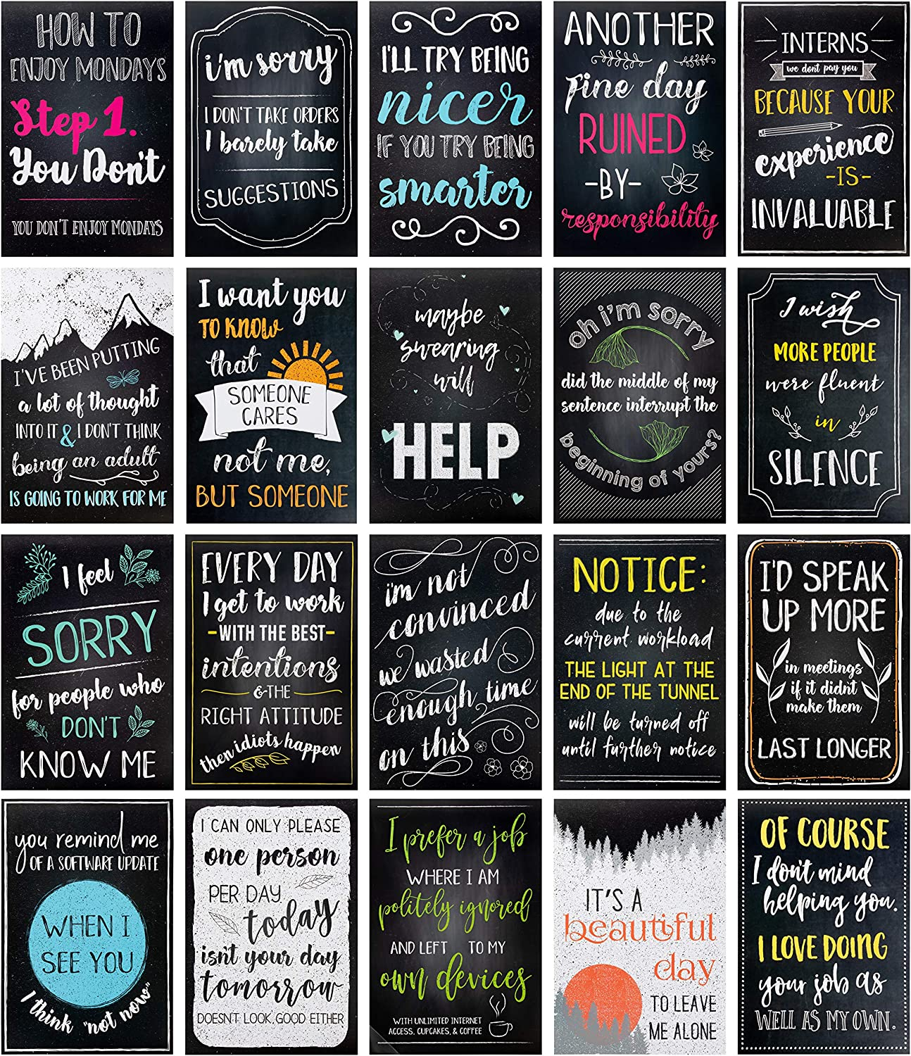 Juvale 20-Pack Funny De-Motivational Satire Quotes Posters for Home & Office Wall Decor, 13 x 19 Inches
