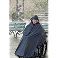 AdirMed Wheelchair Waterproof Poncho With Hood - Rain Protection Cape - Water & Tear Resistant Polyester Cover - Over…