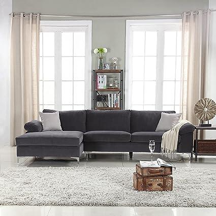 Amazoncom Divano Roma Furniture Modern Large Velvet Fabric