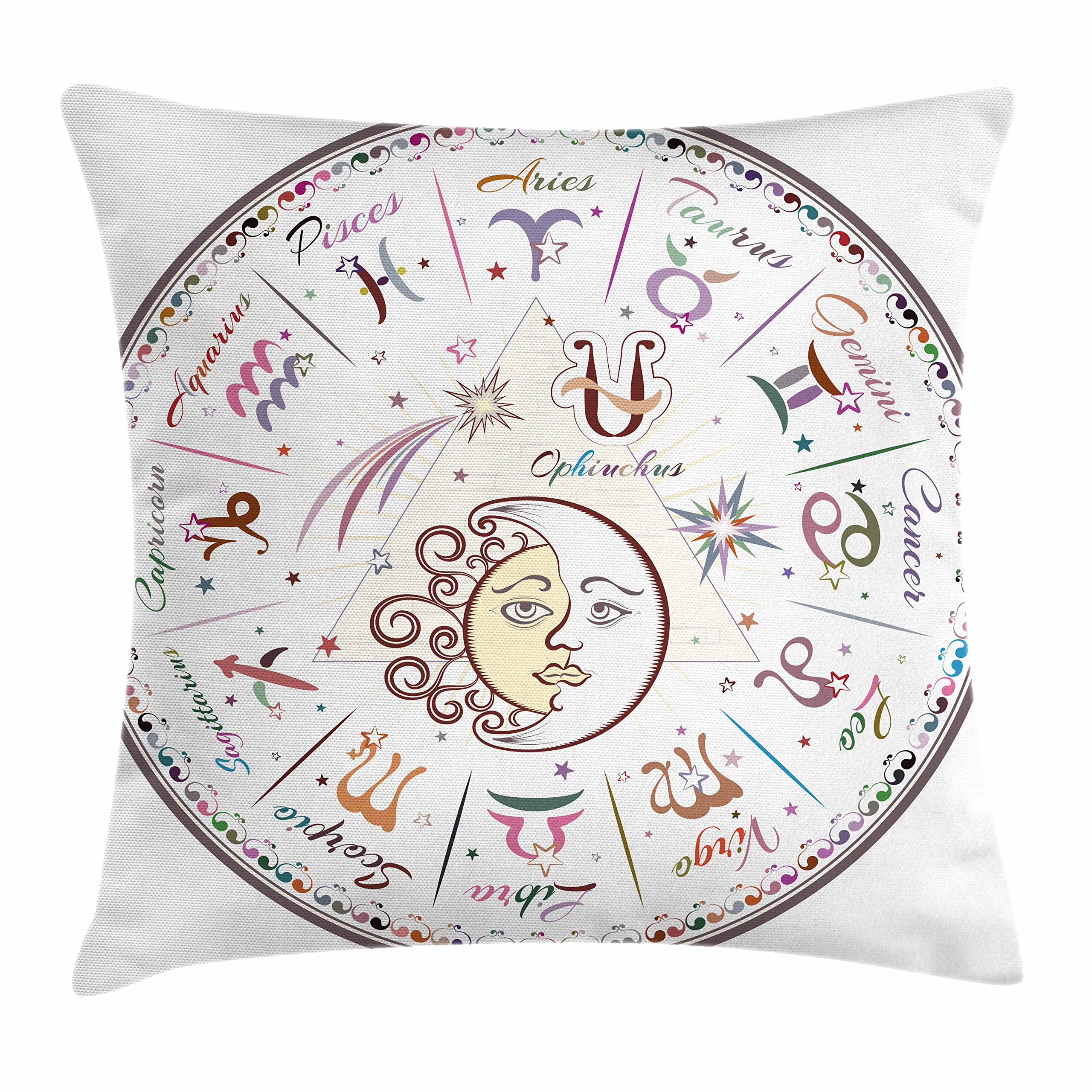 Ambesonne Zodiac Throw Pillow Cushion Cover, Western Chart with All Signs Aries Virgo Leo Taurus Libra Mystique Fate Calendar, Decorative Square Accent Pillow Case, 18'' X 18'', Multicolor