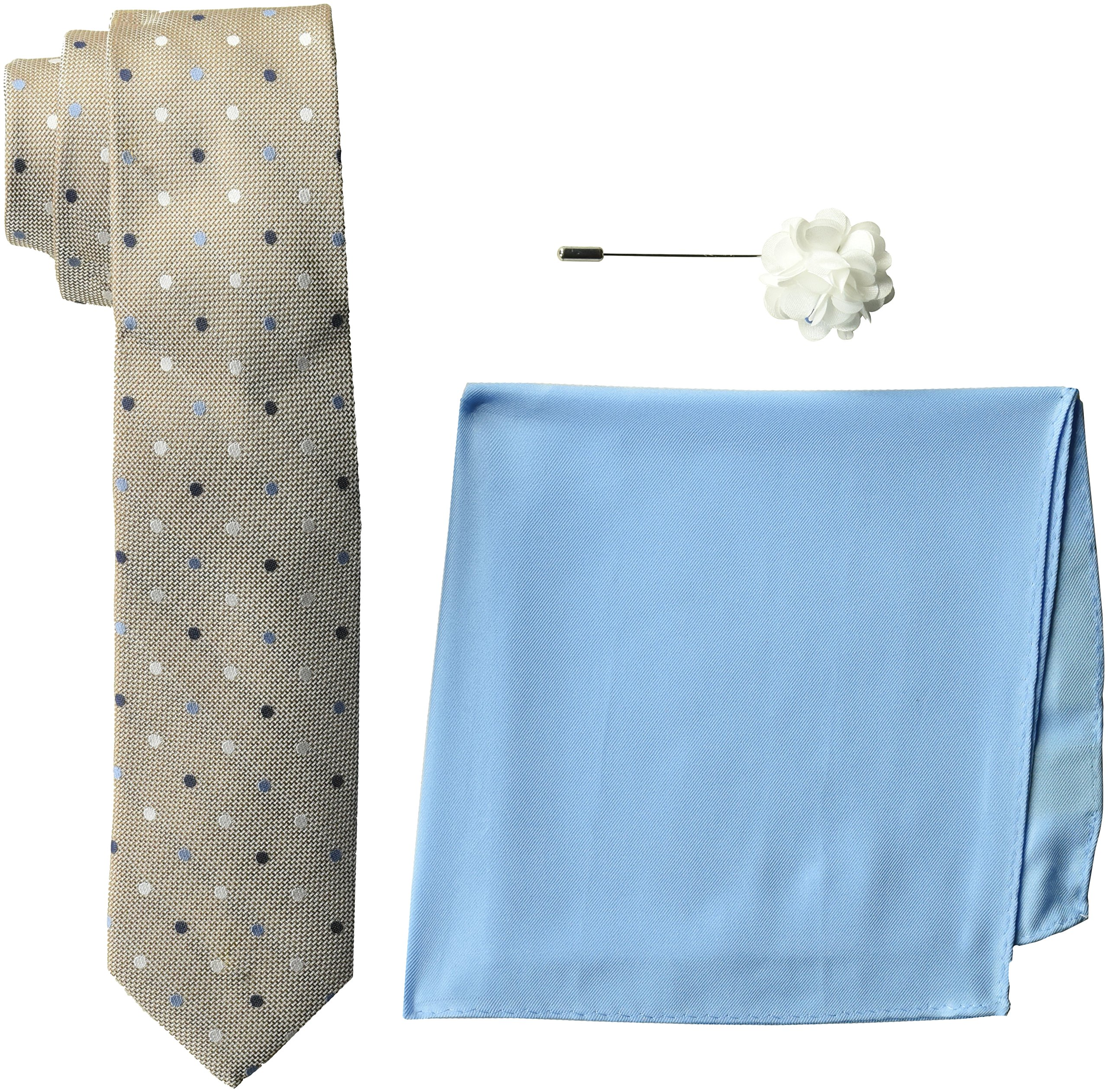 Ben Sherman Men's 100% Silk Tie with Pocket Square and Lapel Pin Gift Set, Taupe, One Size