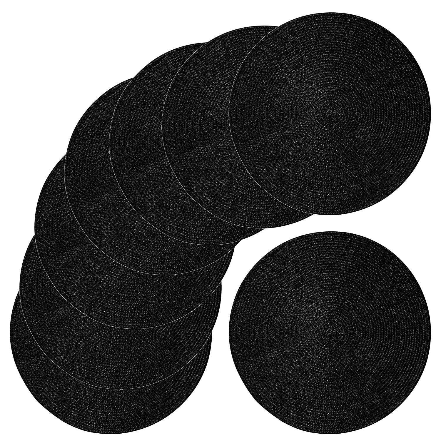 tag 15-Inch Braided Placemat 8-Pack, Black 8P32300