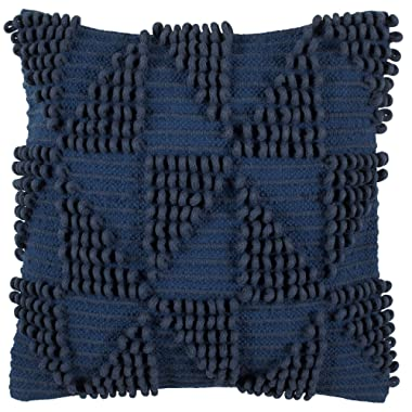 Rivet Modern 100% Cotton Triangle Loop Decorative Throw Pillow, 18  x 18 , Cobalt