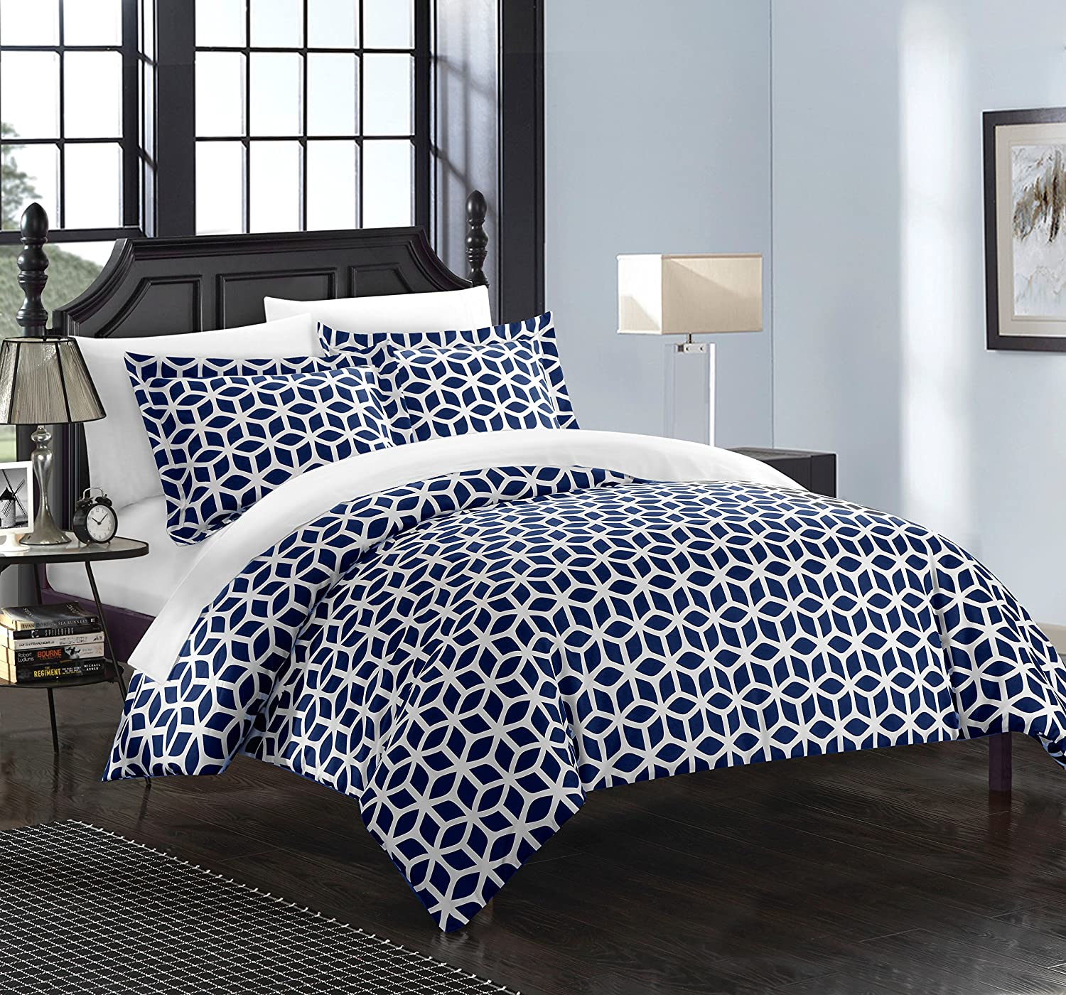 Chic Home Elizabeth 6 Piece Reversible Duvet Cover Set Geometric Diamond Print Design Bed in a Bag Bedding Zipper Closure - Sheets Decorative Pillow Sham Included Twin Navy DS0439-0580-AN