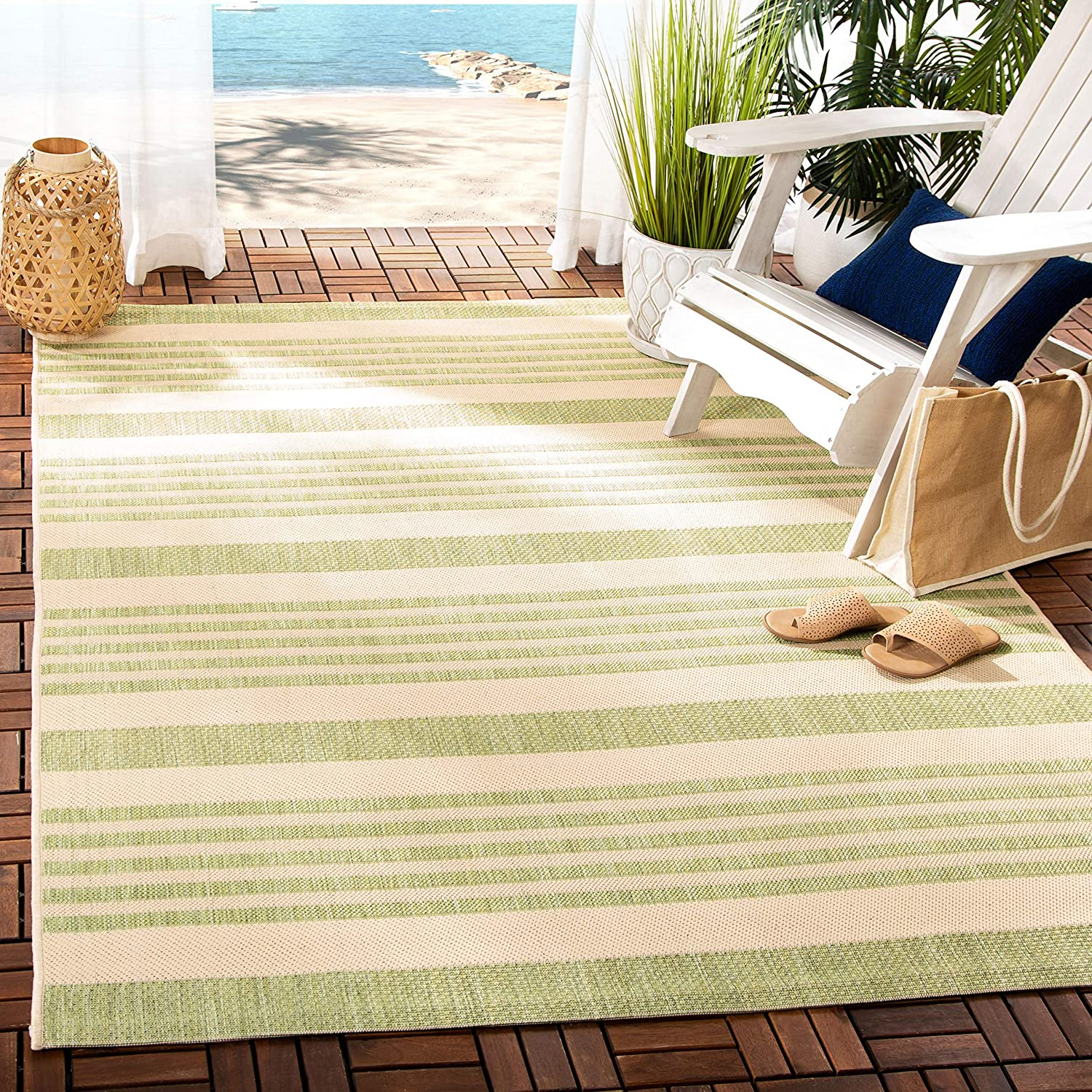 Amazon Com Safavieh Courtyard Collection Cy6062 Stripe Indoor Outdoor Non Shedding Stain Resistant Patio Backyard Area Rug 9 X 12 Beige Sweet Pea Furniture Decor