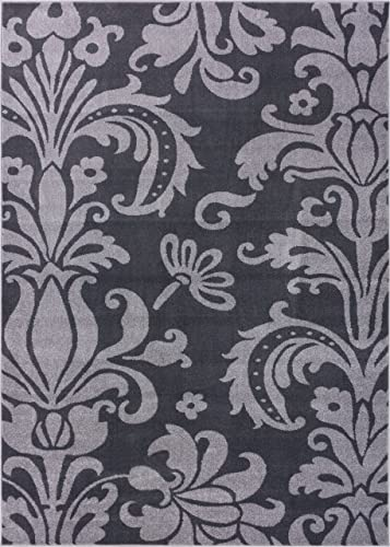 "Well Woven Vavu Damask Oversized Floral Soft Tones Area Rug Dark Grey and Light Grey Modern Living Room Dining Room 5x7 5'3"" x 7'3"""