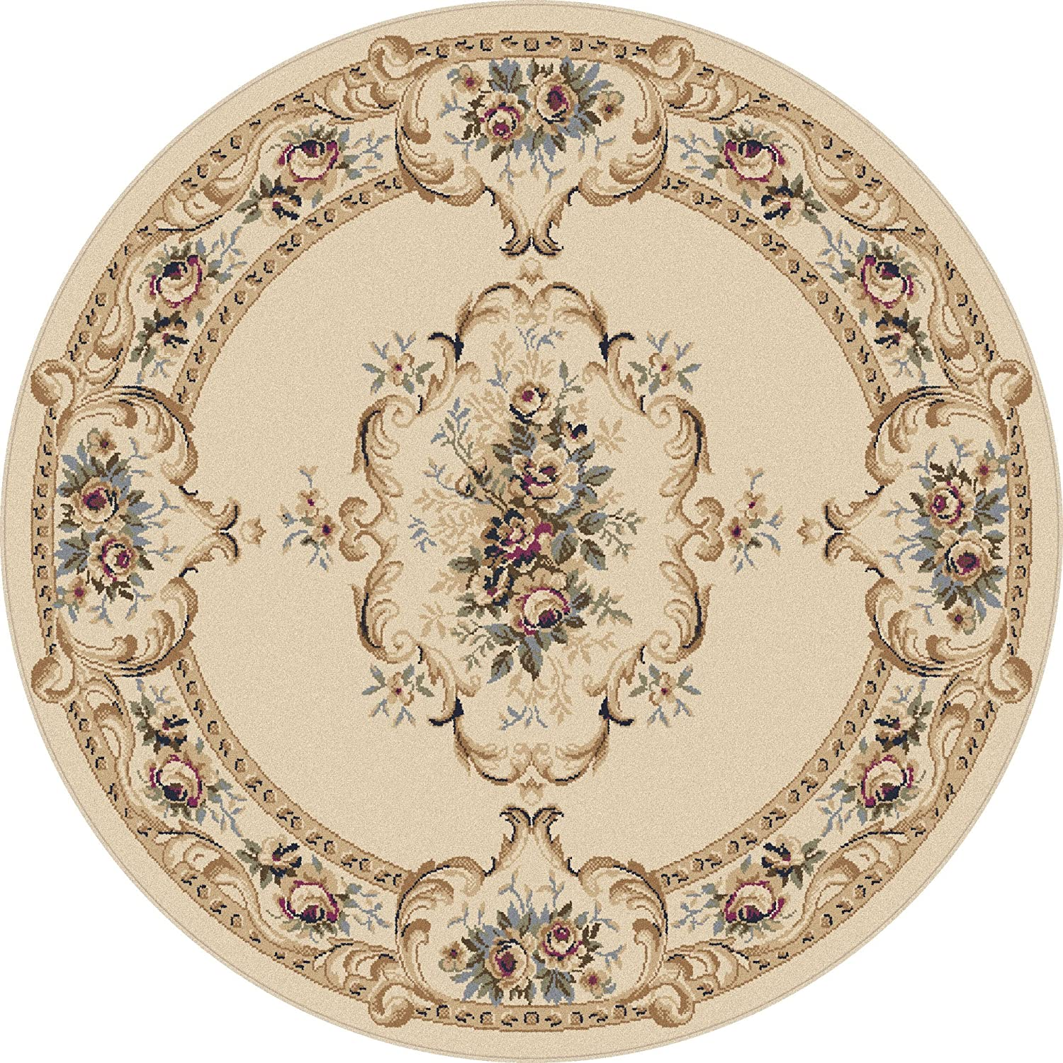 Amazon Com Angeline Traditional Floral Beige Round Area Rug 5