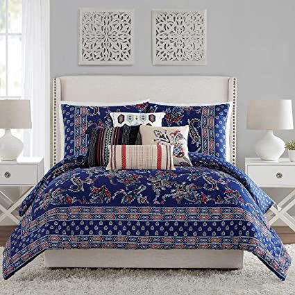 Amazon Com Vera Bradley Romantic Paisley Comforter King Blue