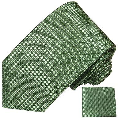 P.M. Krawatten Paul Malone Corbata de seda boda verde a cuadros + ...