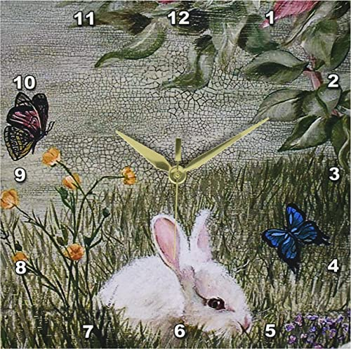 3dRose DPP_44347_1 Bunny Rabbit in Grass with Butterflies Flying Nearby Wall Clock, 10 by 10-Inch