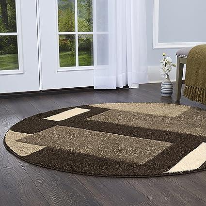Home Dynamix Sumatra Tarragon Area Rug | Contemporary Round Dining Room Rug  | Modern Geometric Design