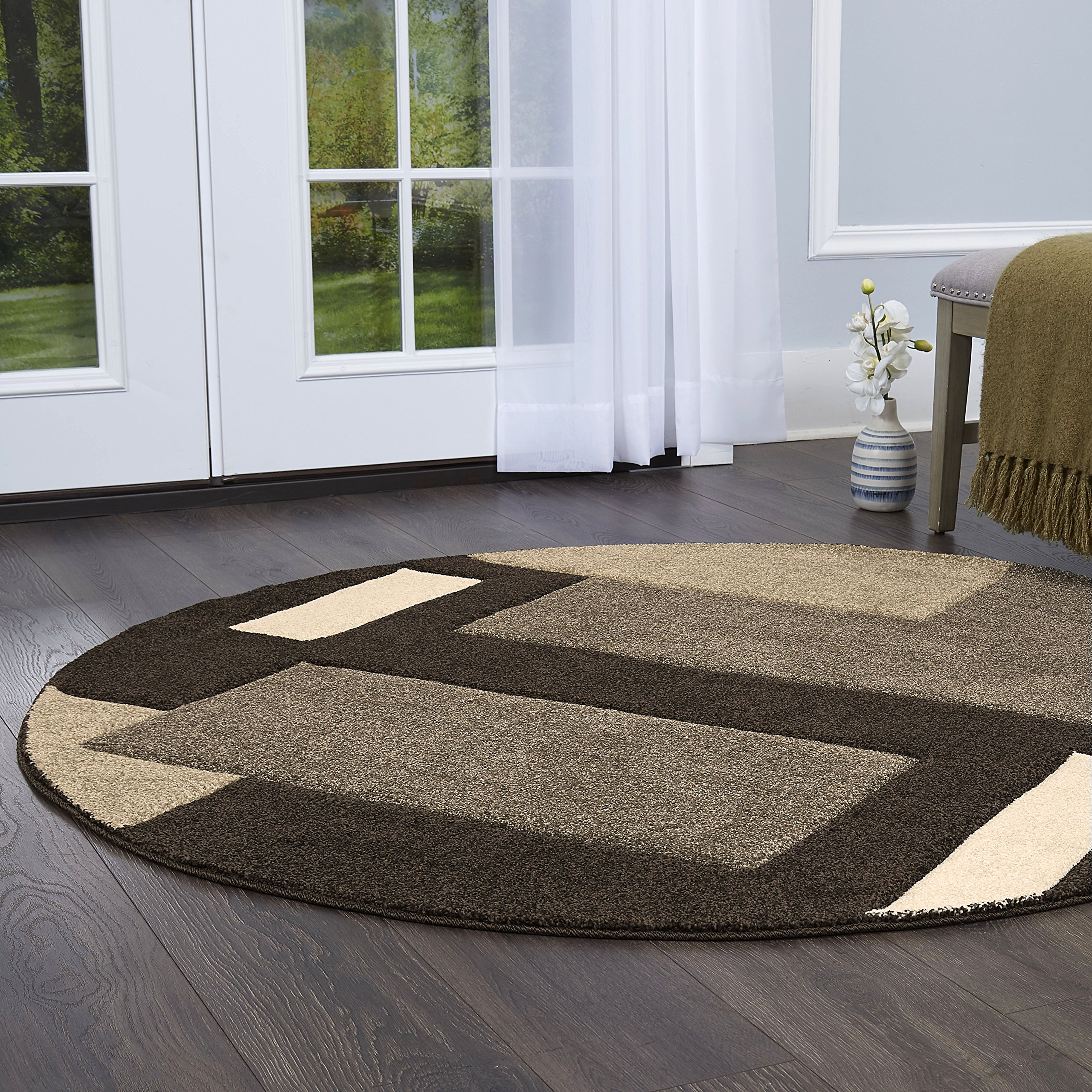 Home Dynamix Sumatra Tarragon Area Rug | Contemporary Round Dining Room Rug | Modern Geometric Design | Soft and Plush Texture | Dark Brown 5'2'' Round