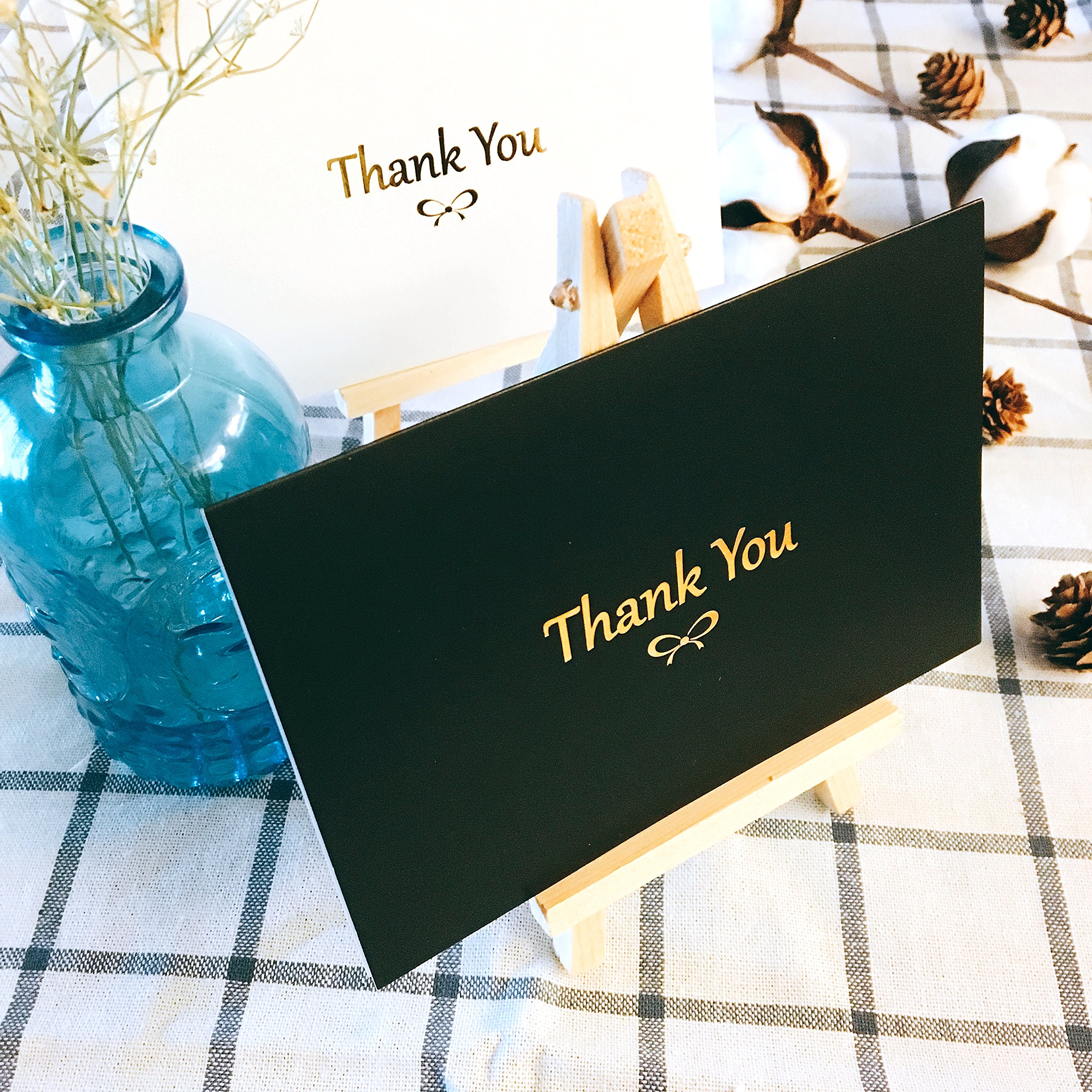 100 Thank You Cards With Gold Foil Embossed Designs | 4 x 6 Inches, Bulk Blank Note Cards With Envelopes And Gold Stickers | Perfect For Wedding, Bridal Shower, Baby Shower, and Business (Black White) by Winoo Paper Greetings (Image #3)