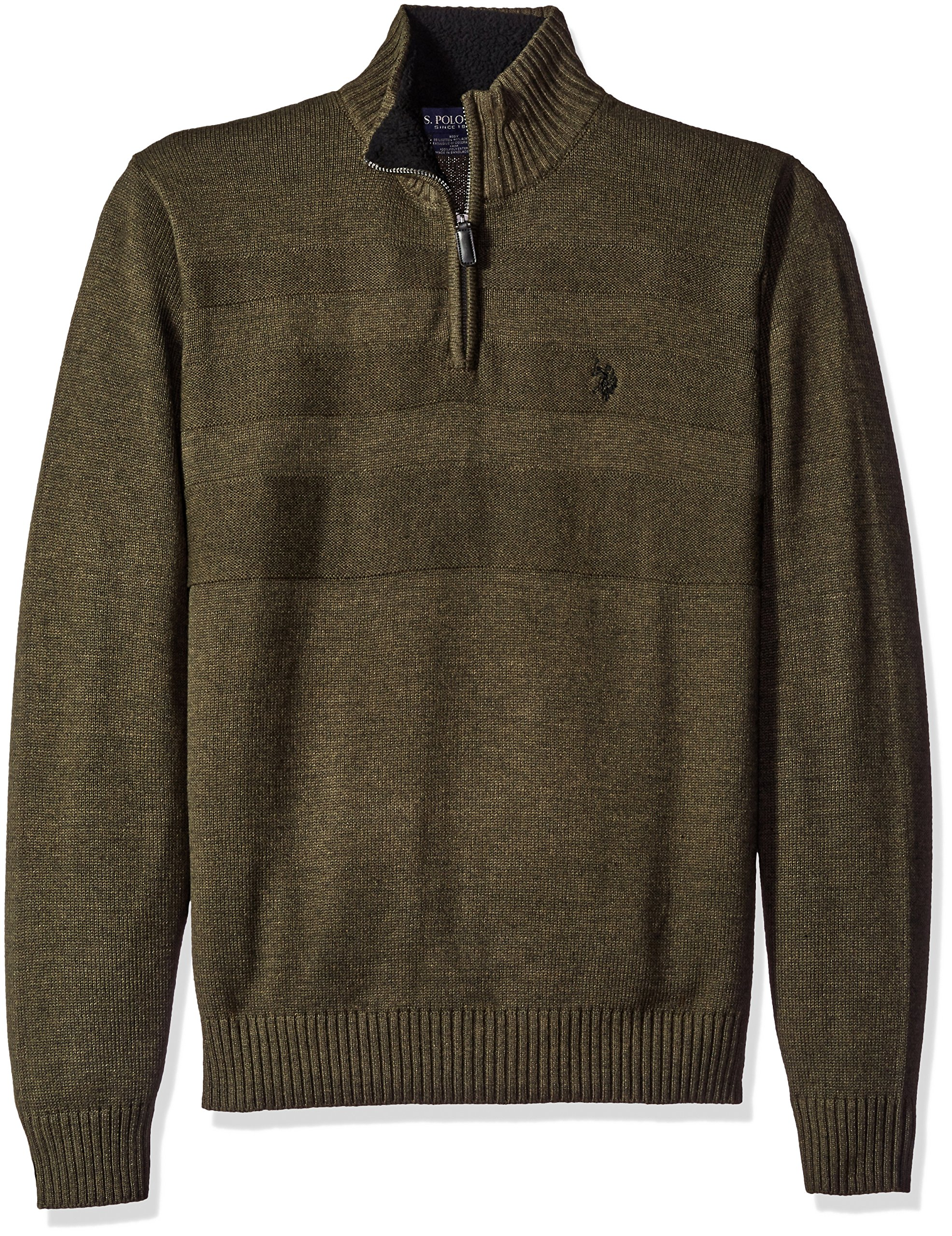 U.S. Polo Assn. Men's Textured Chest 1/4 Zip Sweater, Parsley Heather, X-Large