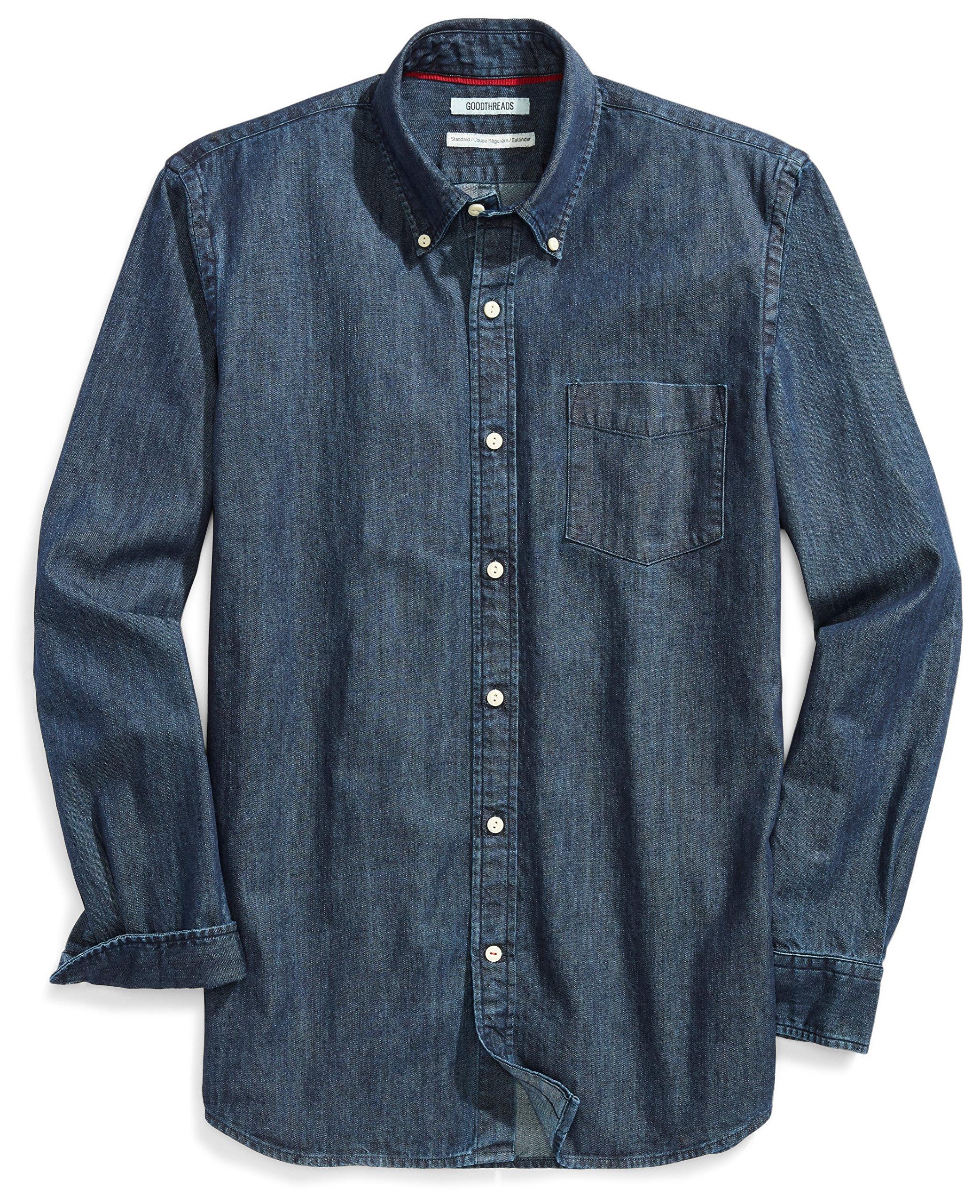 Goodthreads Men's Standard-Fit Long-Sleeve Denim Shirt, Dark Blue, Large